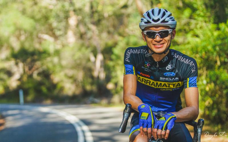 Ryan Miu, author of B Grade Cyclist, dressed in Parramatta Cycling Club kit.