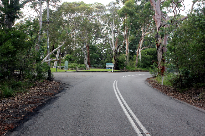 Finish of Bobbin Head West climb; a featureless road with a carpark entrance on the left hand side.