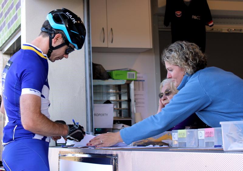 SUVelo rider signing in at Heffron Park registration desk