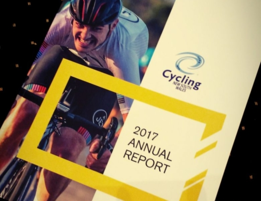 Cycling NSW 2017 Annual Report front page showing grimacing cyclist