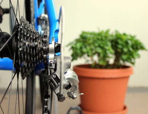 Bicycle rear gear with chain stuck on the smallest sprocket and pot plant in the background