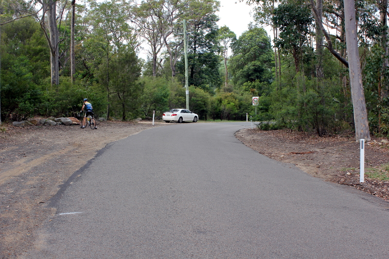 An unmarked piece of road is the finish of the climb for those cycling Bobbin Head East.