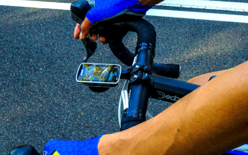 Garmin head unit on a ride in Lane Cove National Park showing the data fields you should display on your head unit during a cycling race