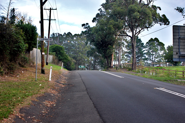 The finish when cycling Galston Gorge West is past Fishburn Road, at the intersection with Crosslands Road.