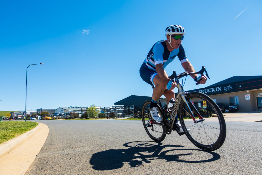 Gregory Barnes during the 2018 NSW Masters Road Championships Criterium race