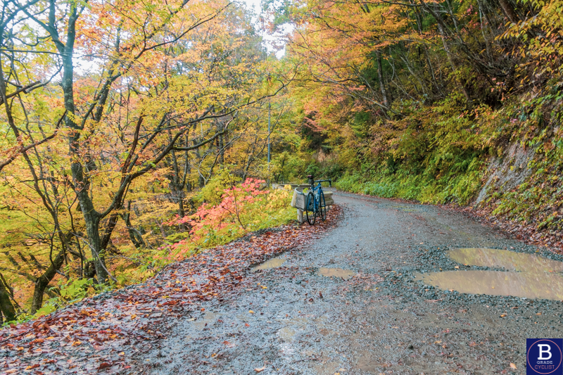 Gravel road when cycling in Akita, Japan in autumn