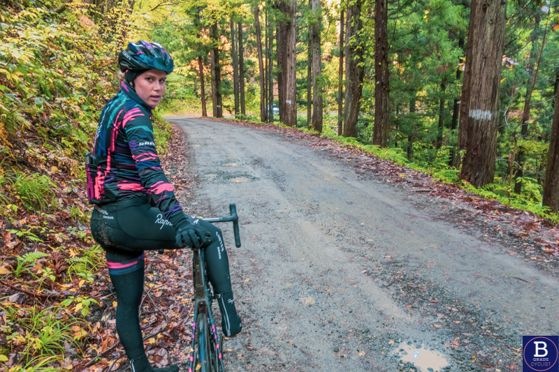Tiffany Cromwell on gravel road when cycling in Akita, Japan in autumn