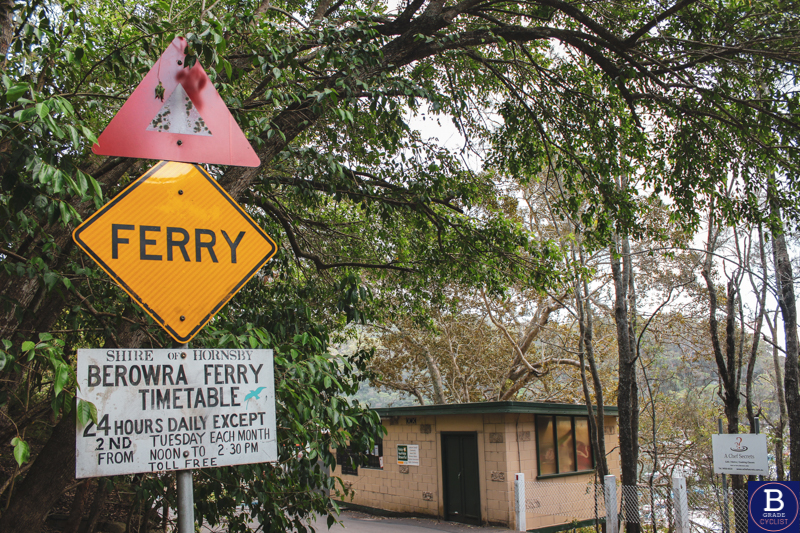 Berowra ferry sign at the bottom of the hill when cycling Berowra Waters East.