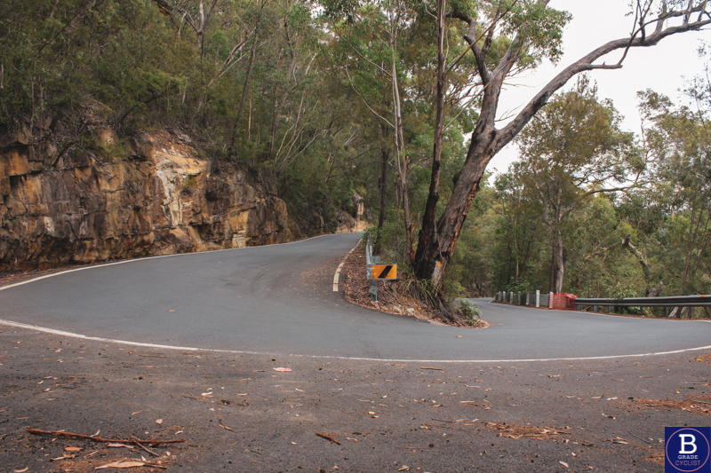 Hairpin at the bottom of the hill when cycling Berowra Waters East.