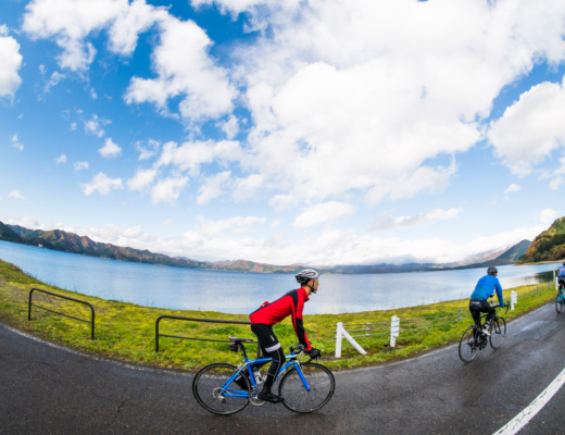 Cycling around Lake Tazawa in Akita, Japan