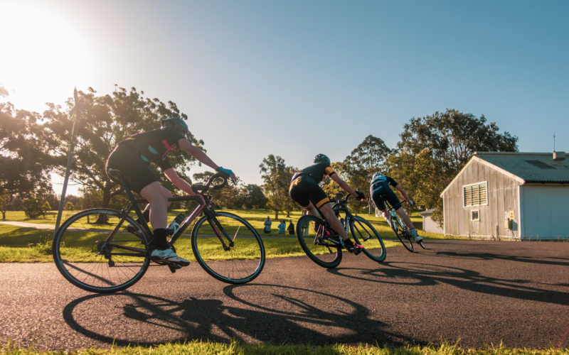 That corner with three cyclists racing at Newington Armory