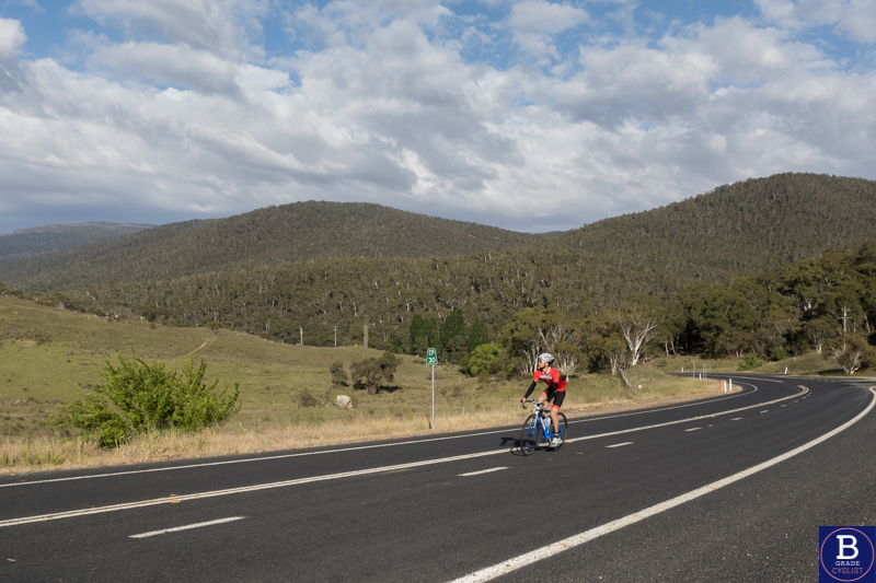 Climbing in the shadow of Kosciuszko after descending Kosciuszko Road by bicycle