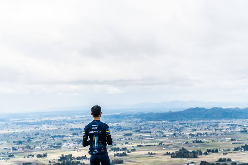 Landscape view of Akita, Japan after cycling up the Ohdai Ski Resort climb.