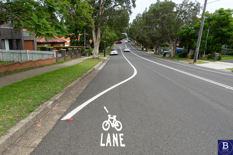 Artist's impression of a bike lane shown on the road.