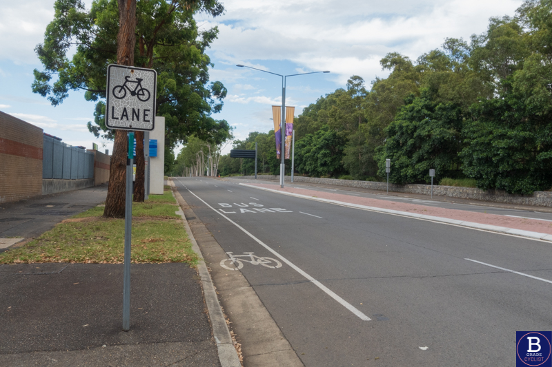 Real bicycle lane in Sydney Olympic Park.