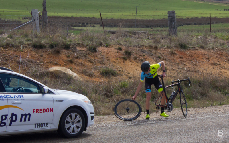 Phoenix Cycling Collective rider suffers a rear wheel puncture during the 2018 Goulburn Great Divide Road Race