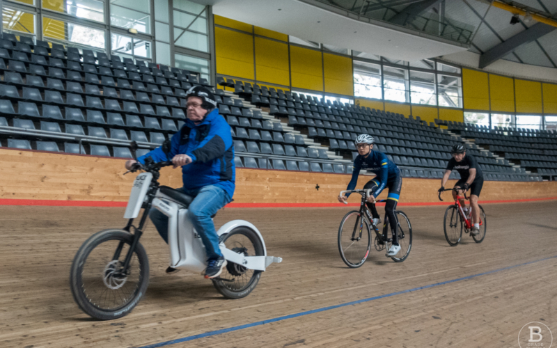 Road cyclist trying the track at Dunc Gray Velodrome