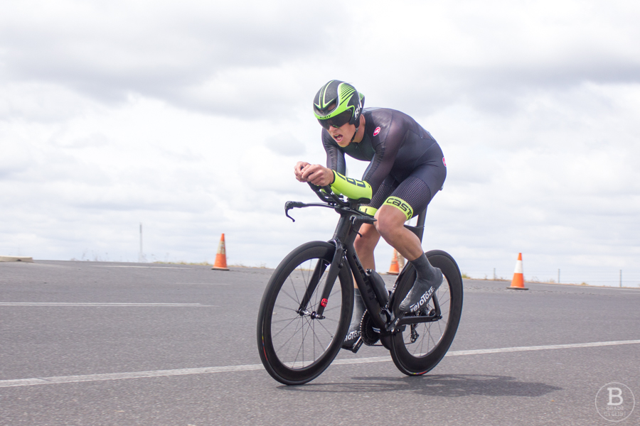 A cyclist during an individual time trial