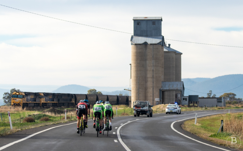 Cyclists in a country open race in NSW, Gunnedah to Tamworth 2019