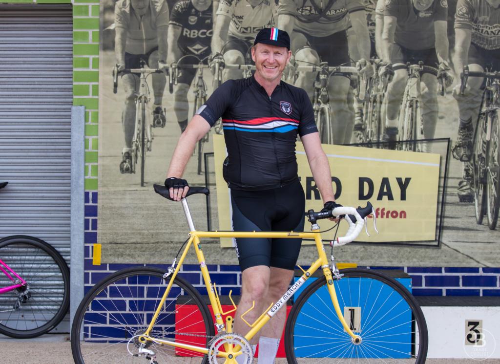Shane Mattiske with a borrowed Merckx bicycle at Randwick Cycling Club's Retro Day.