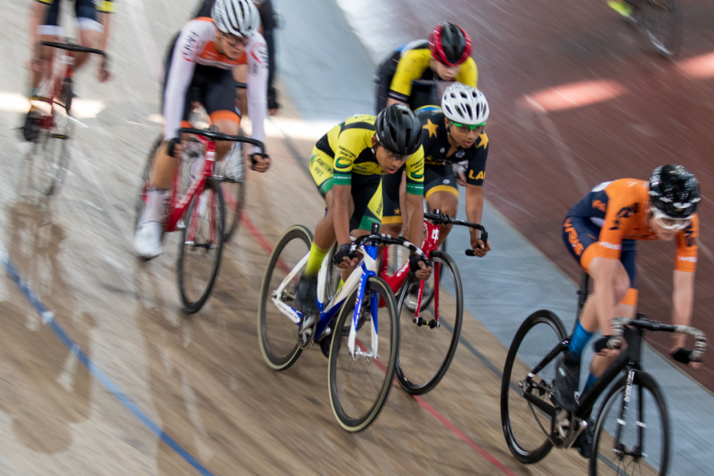 A junior rider from Bankstown Sports Cycling Club. Juniors have their own training session before the 100-lapper.