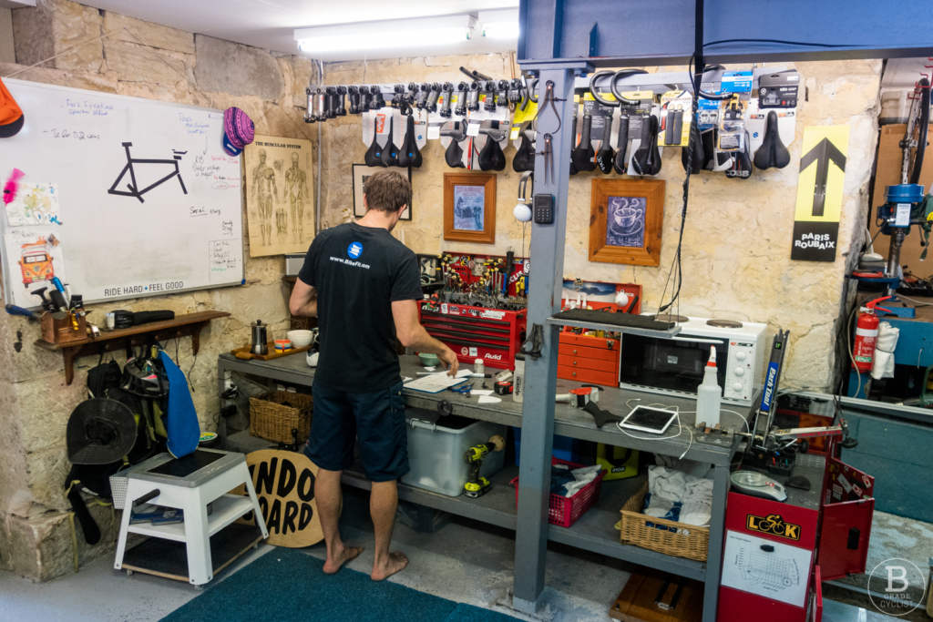Aaron Dunford in his bike fit studio, Fusion Peak, in Fairlight, nearly Manly, on Sydney's Northern Beaches
