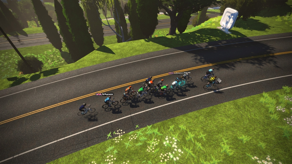 A small group ride in the Zwift world