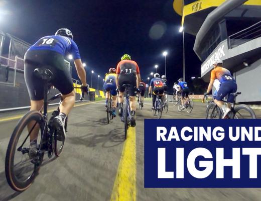 Bicycle racing under lights at Sydney Motorsport Park SMSP