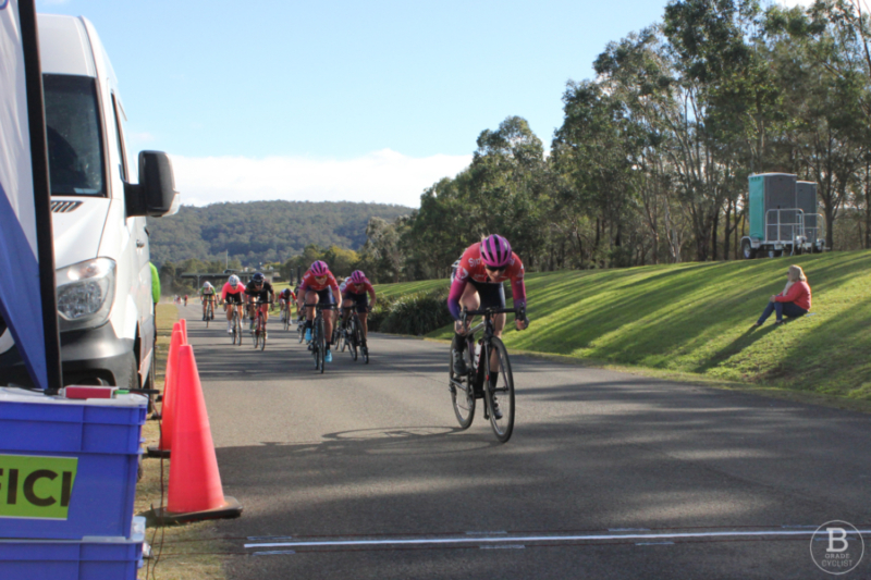 Georgia Whitehouse sprinting to the finish at Sydney International Regatta Centre, Penrith, Sydney Road Titles (Country and Metropolitan Road Championships).