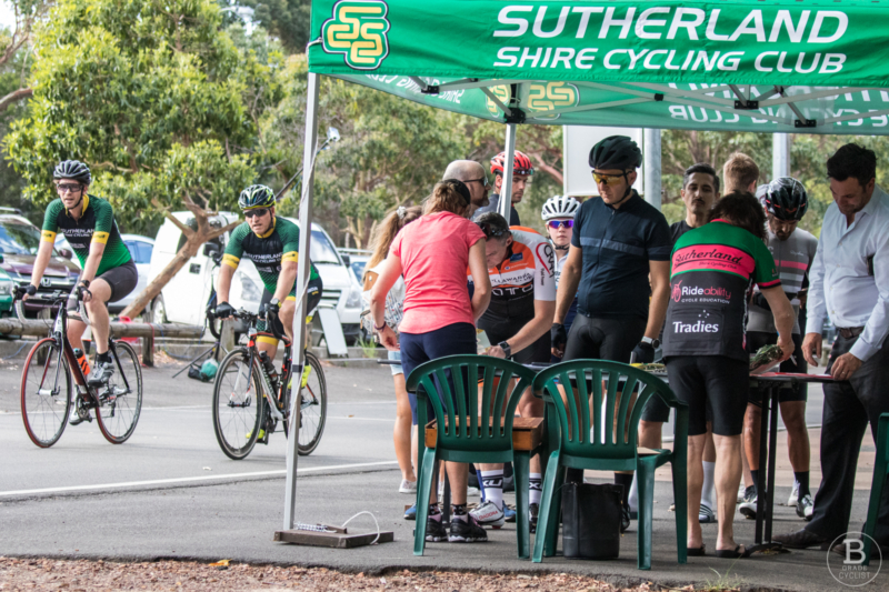 Sign-on at a Sutherland Shire Cycling Club race at Waratah Park.