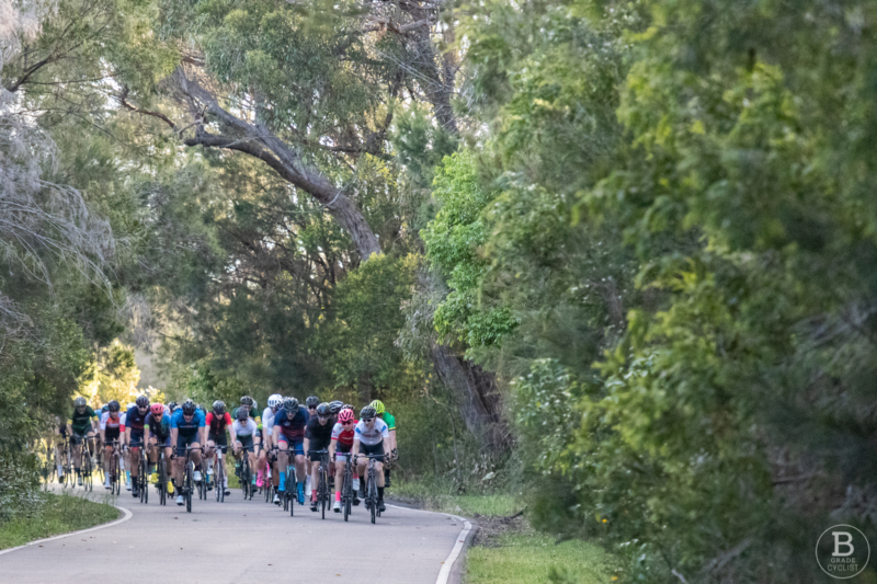 Sheltered section of Waratah Park cycling track, Sutherland.