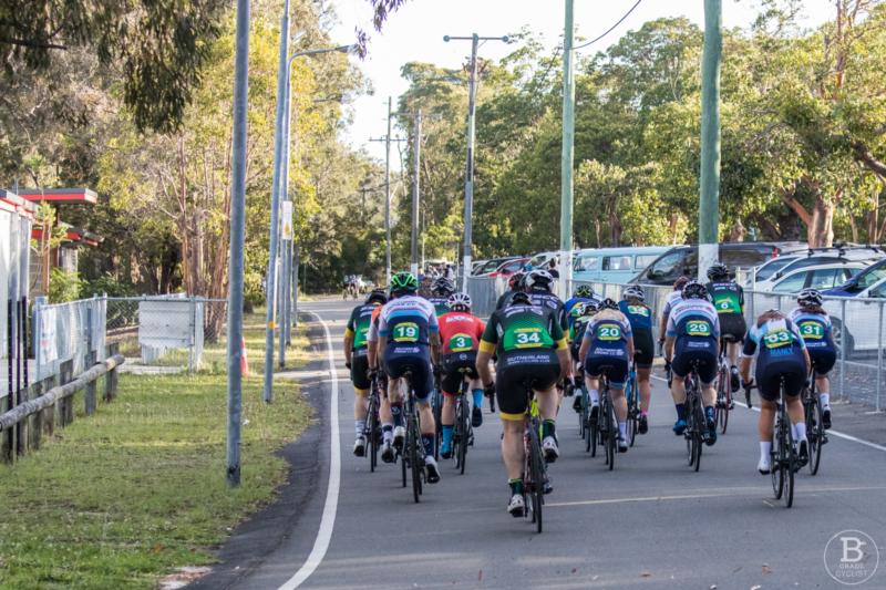Start/finish straight at Waratah Park cycling track, Sutherland.